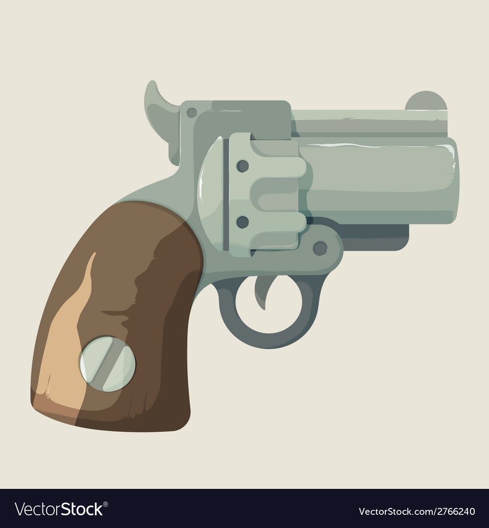 Old steel cowboy revolver isolated on light vector