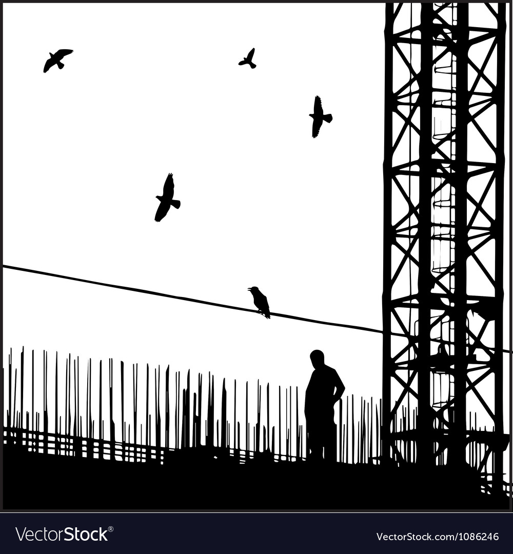 Industrial cityscape with birds vector