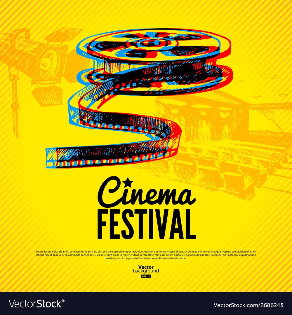 Movie cinema festival poster background vector