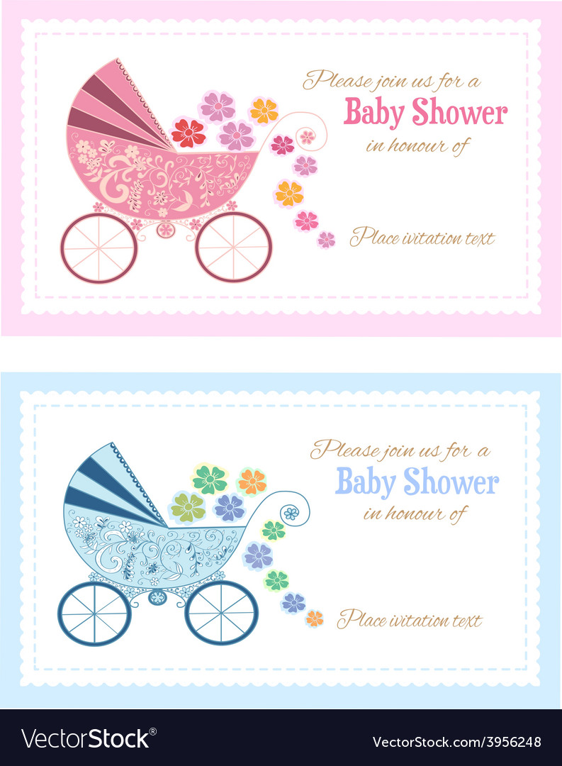 Set of baby shower invitation cards vector