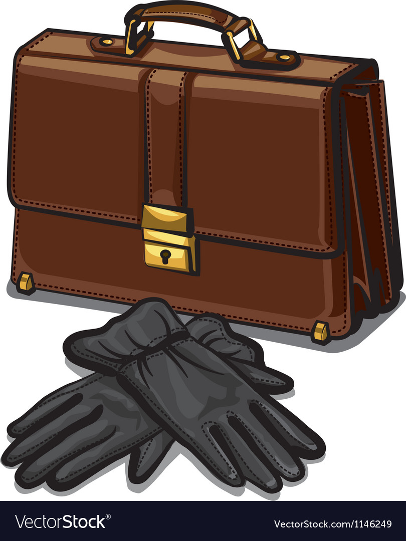 Leather briefcase and gloves vector