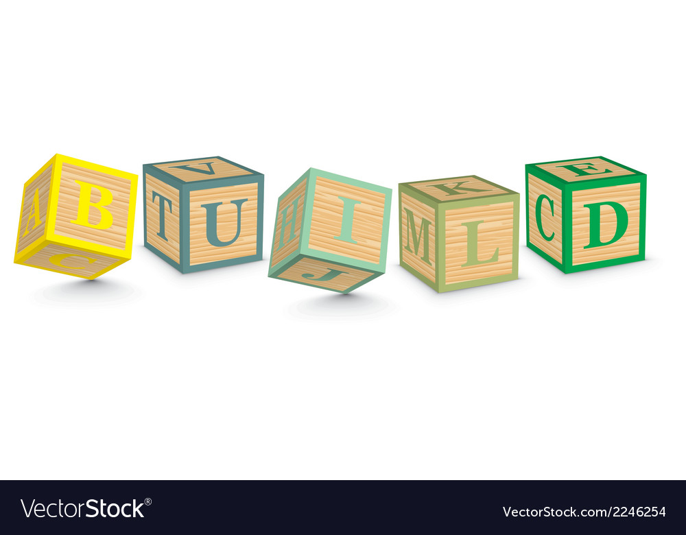 Word build written with alphabet blocks vector