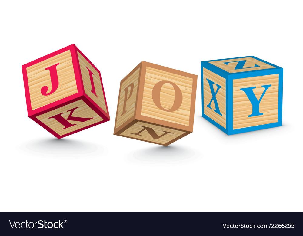 Word joy written with alphabet blocks vector
