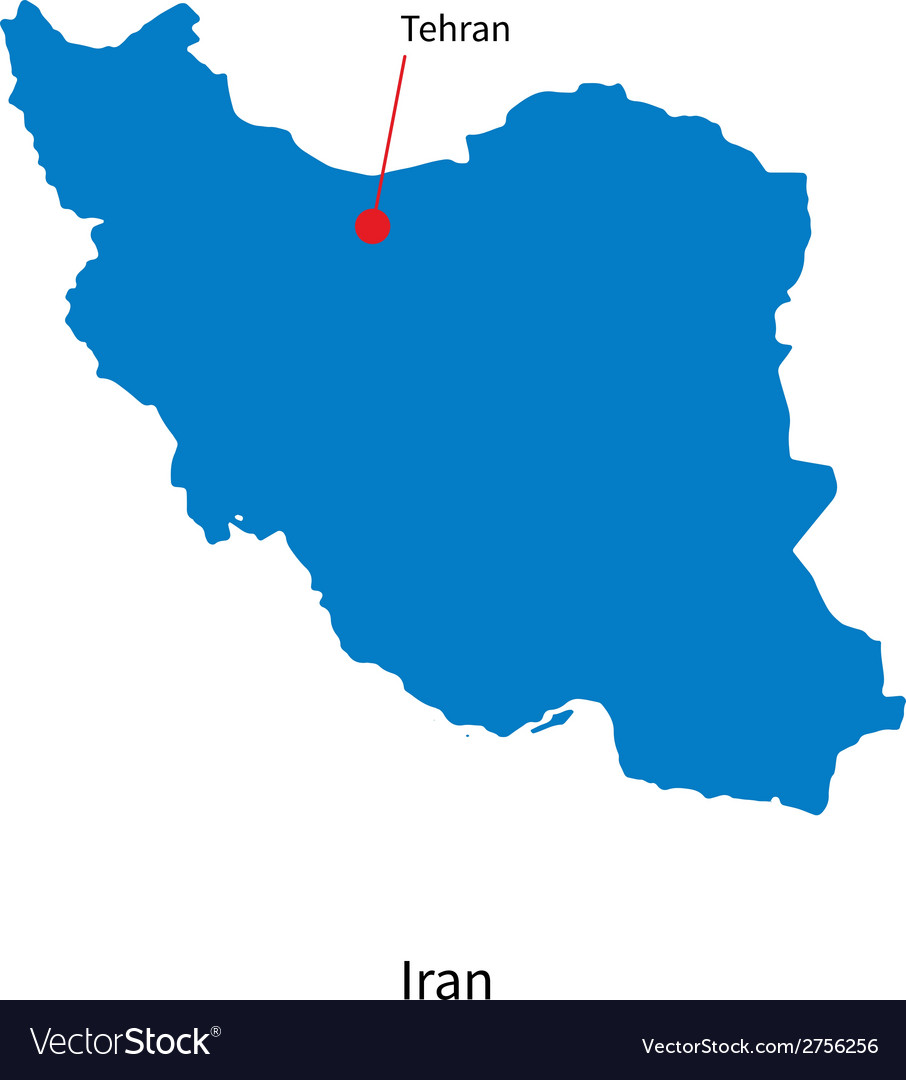 Detailed map of iran and capital city tehran vector