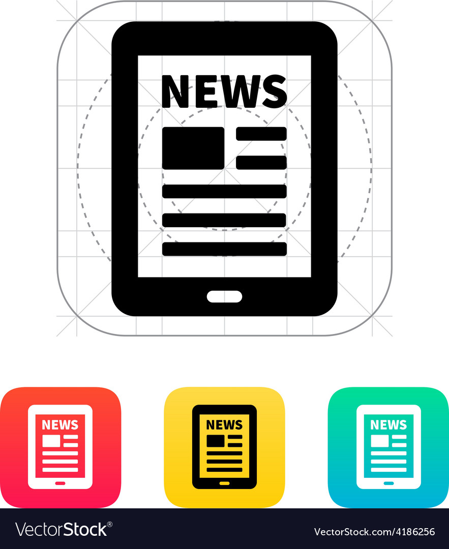 Tablet pc newspaper icon vector