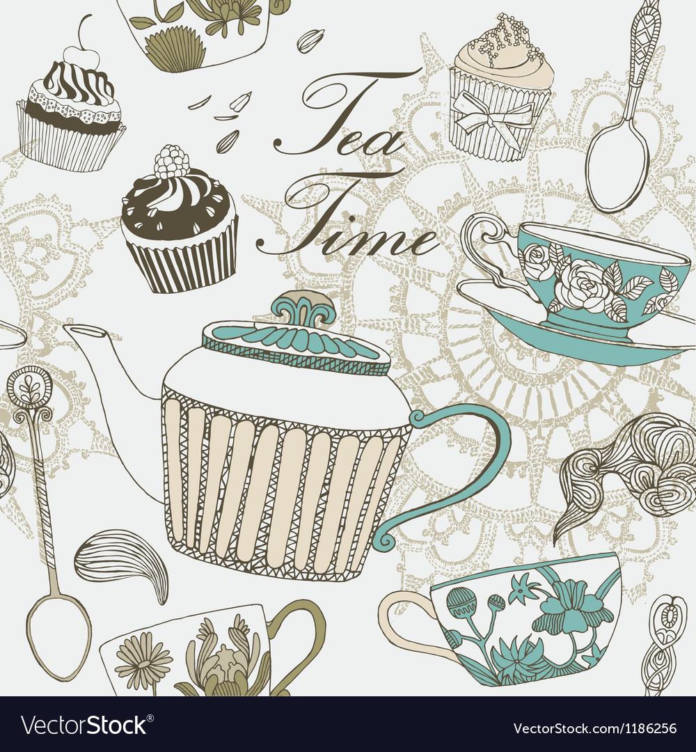 Tea time card vector