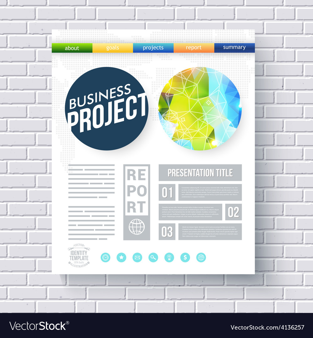 Business report ecological project template vector