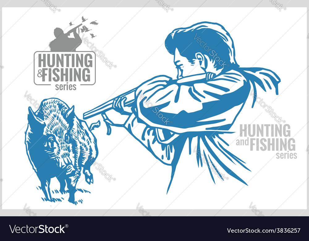 Hunter and boar - vintage vector