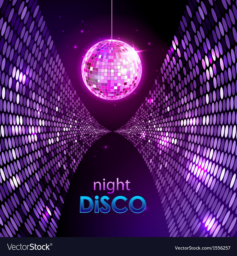 Neon disco ball vector