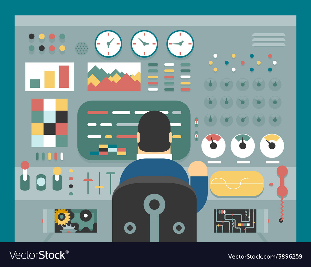 Scientist businessman work in front of control vector