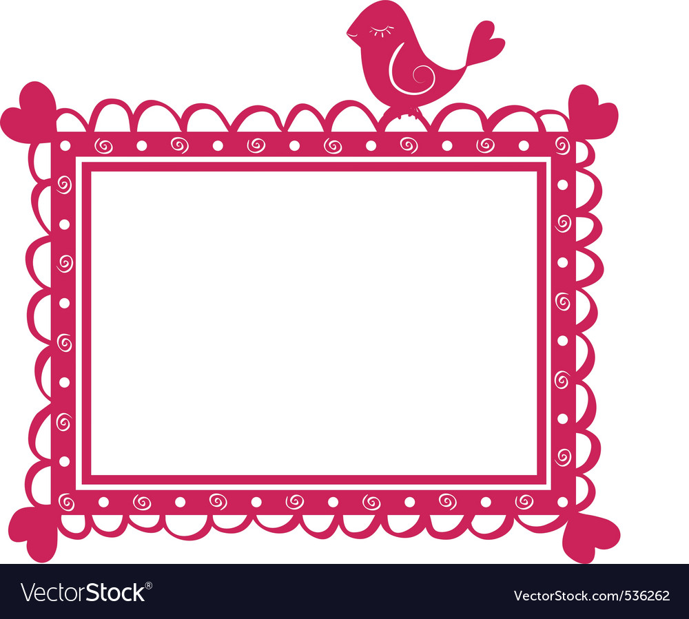 Cute banner frame with bird vector
