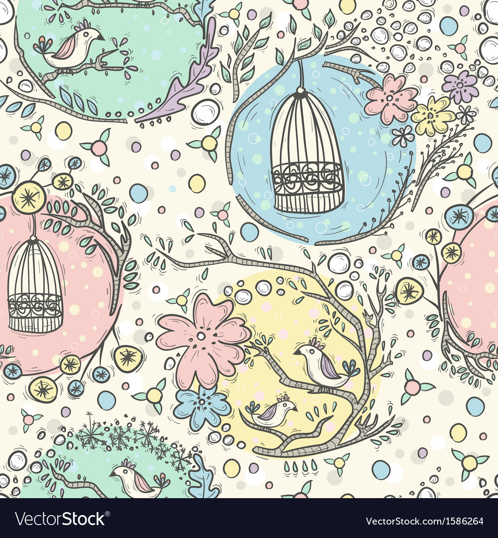 Seamless pattern with birdcages flowers and birds vector