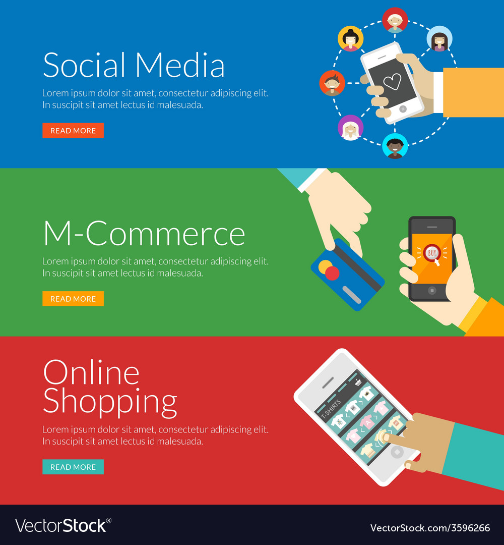 Flat design concept for social media m-commerce vector