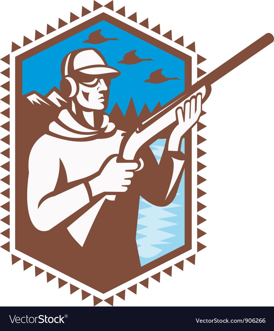 Hunter with shotgun rifle vector