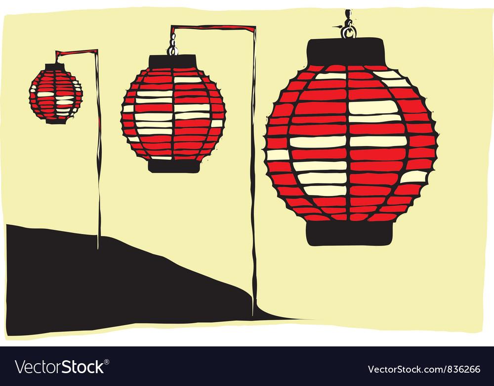 Japanese lanterns vector