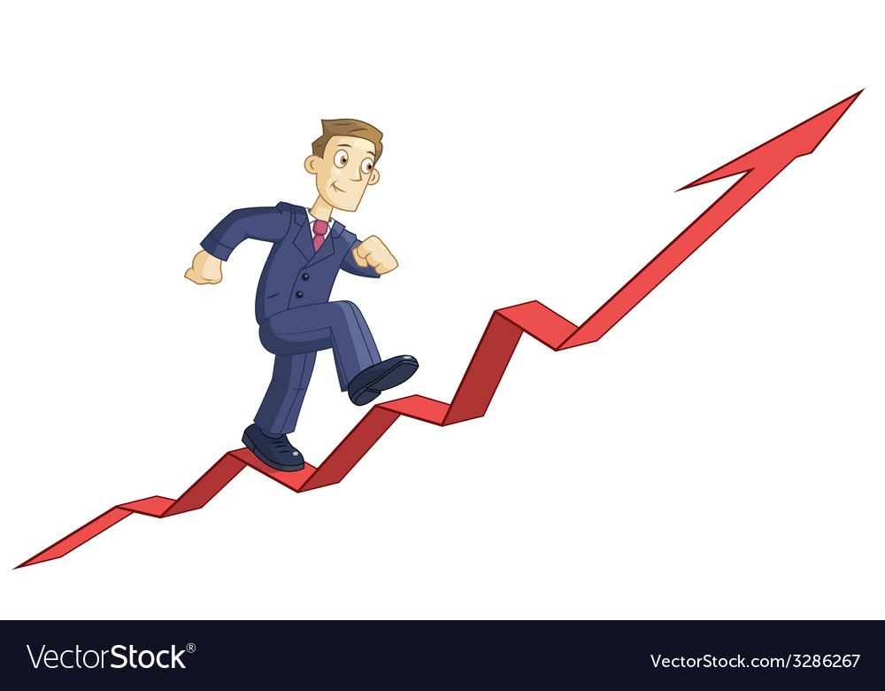 Businessman is climbing up the business graph vector