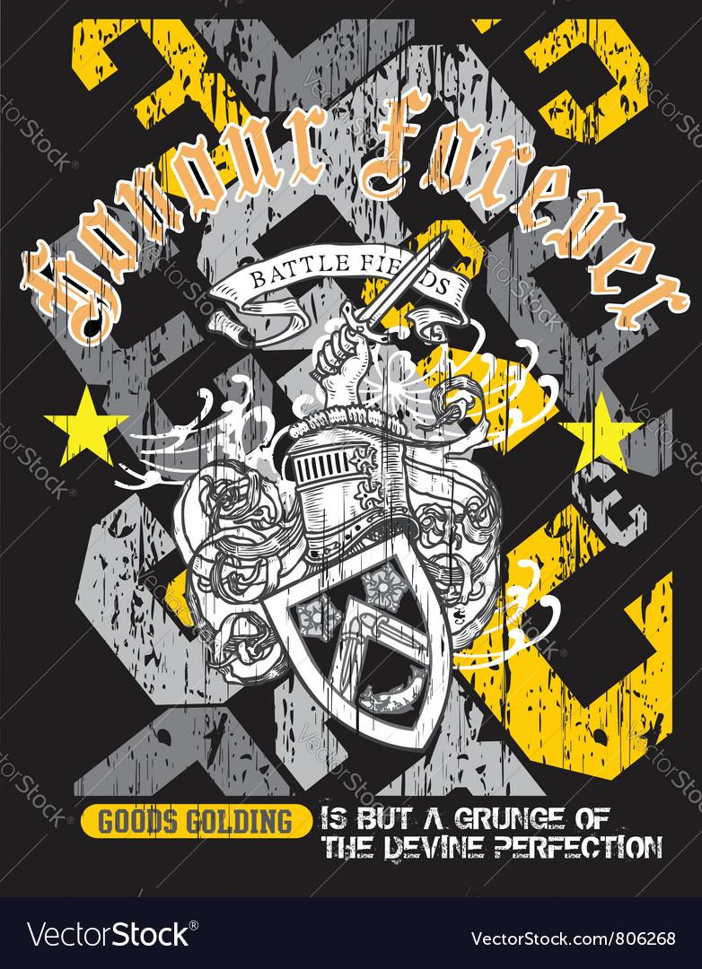 Heraldry grunge shirt design vector