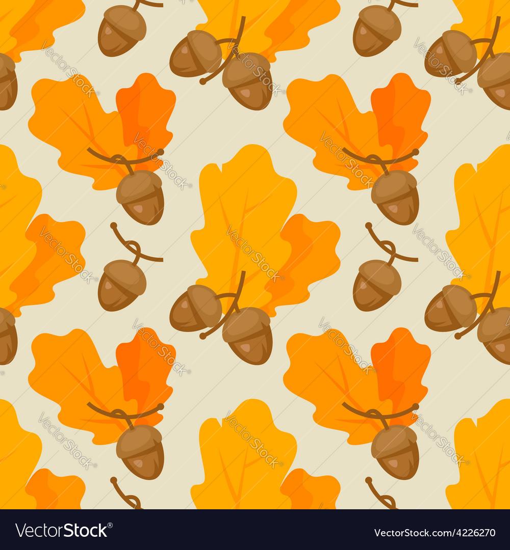 Autumn oak acorn pattern vector