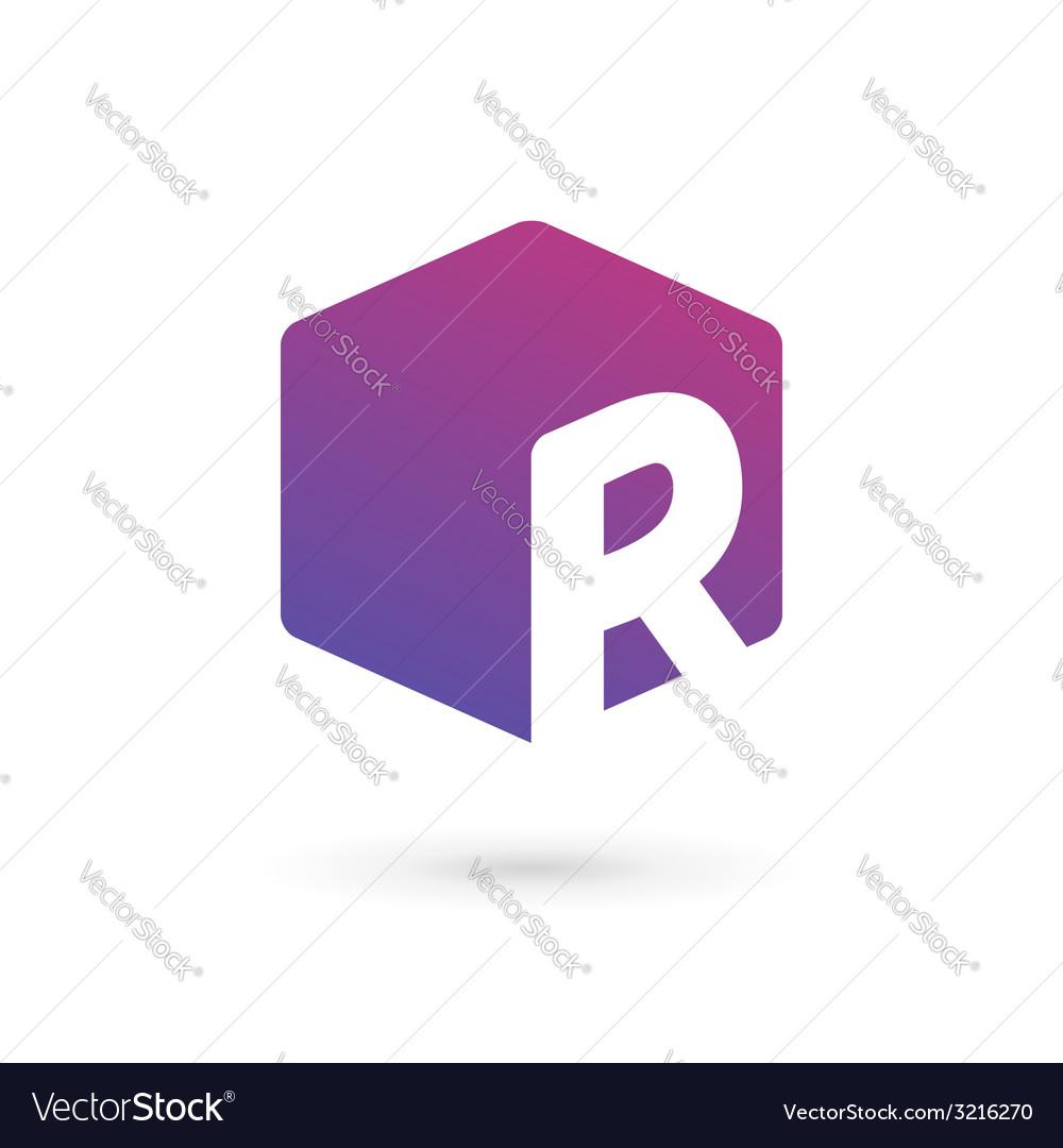 Letter r cube logo icon design template elements vector