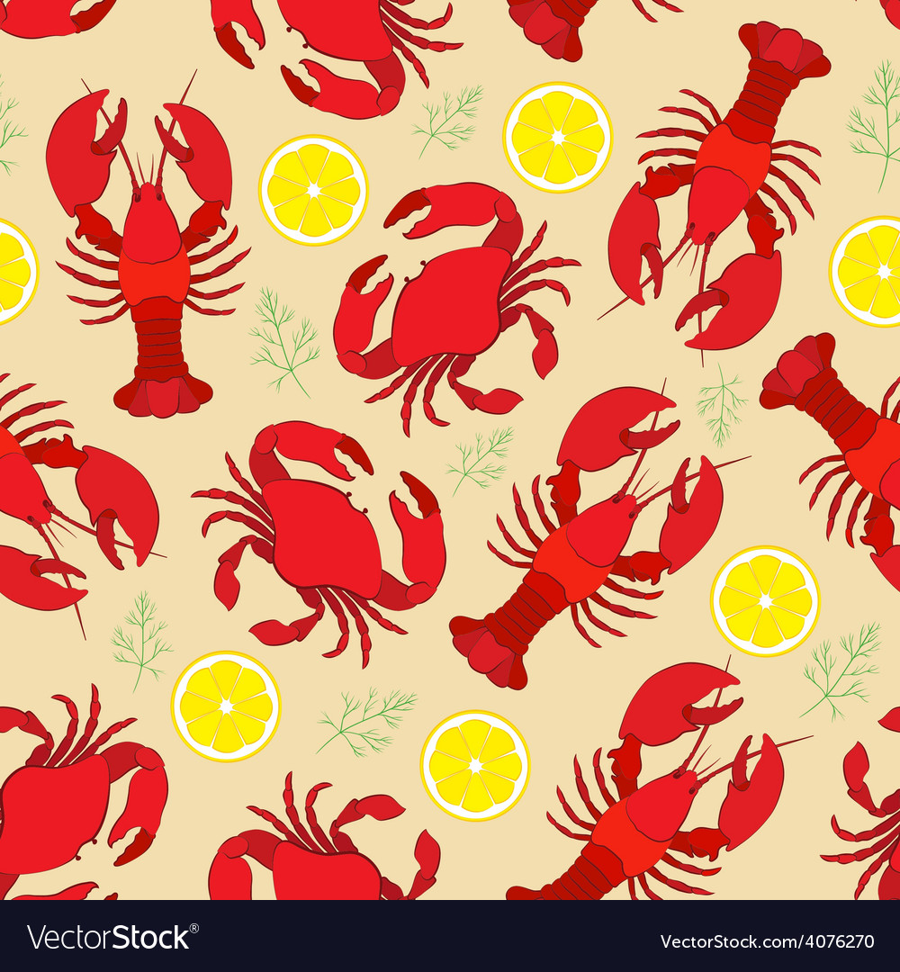 Lobster and crab with lemon and dill vector