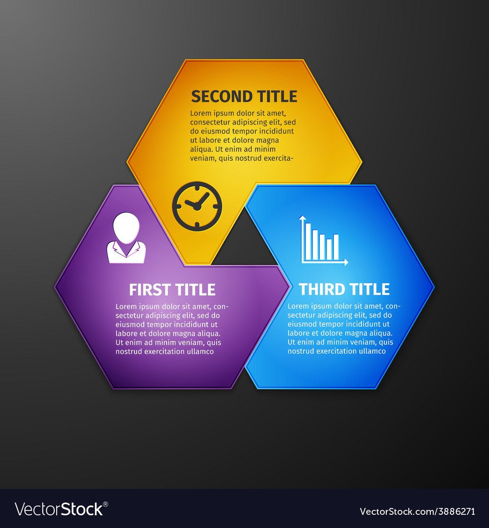 Progress icons for three steps vector