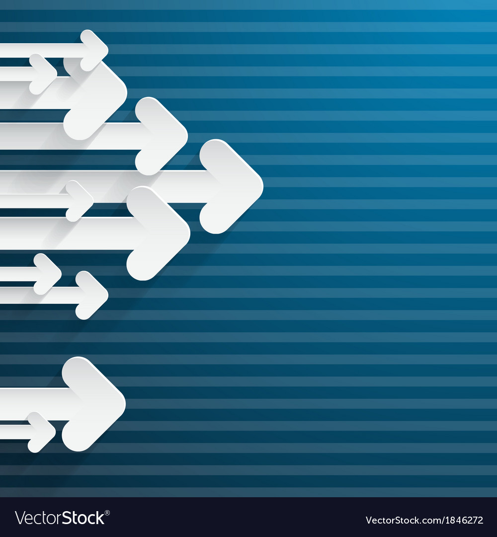Retro paper arrows on blue background vector