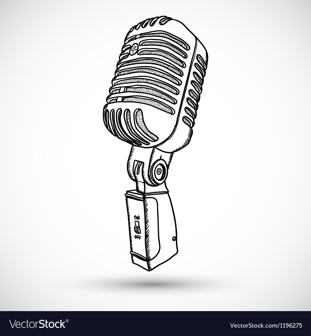 Microphone in doodle style vector