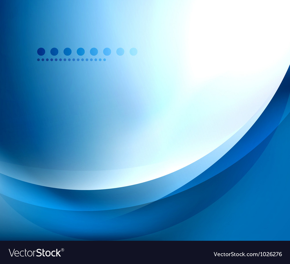 Blue smooth wave template vector