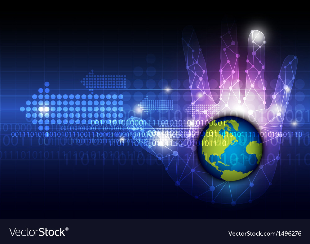 Global technology in hand vector