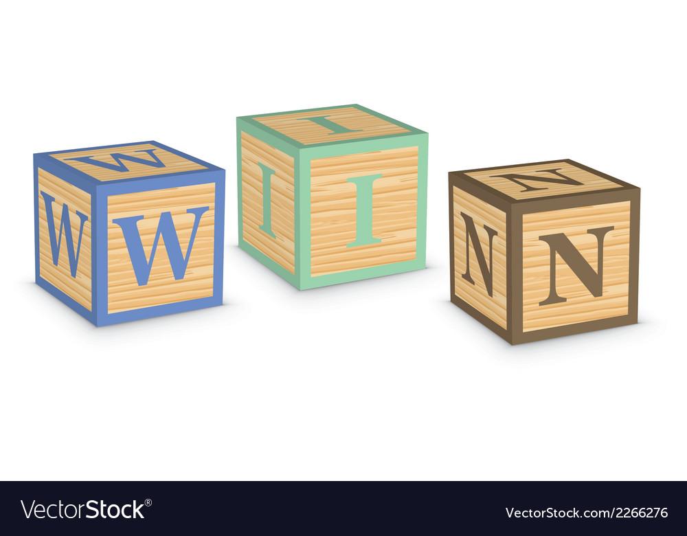 Word win written with alphabet blocks vector