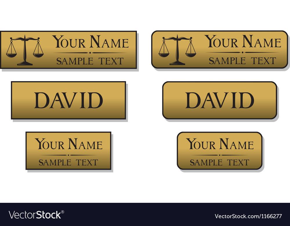 Engraved metal name badges vector