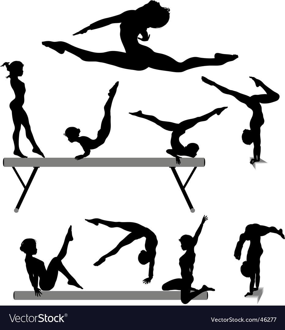 Female gymnast silhouettes vector