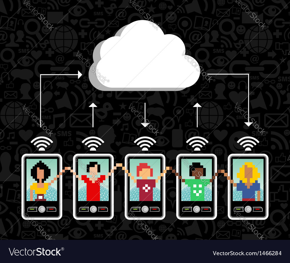 Cloud computing phone background vector