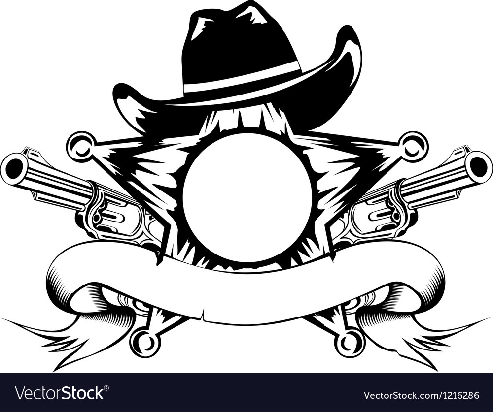 Sheriffs star and revolvers vector