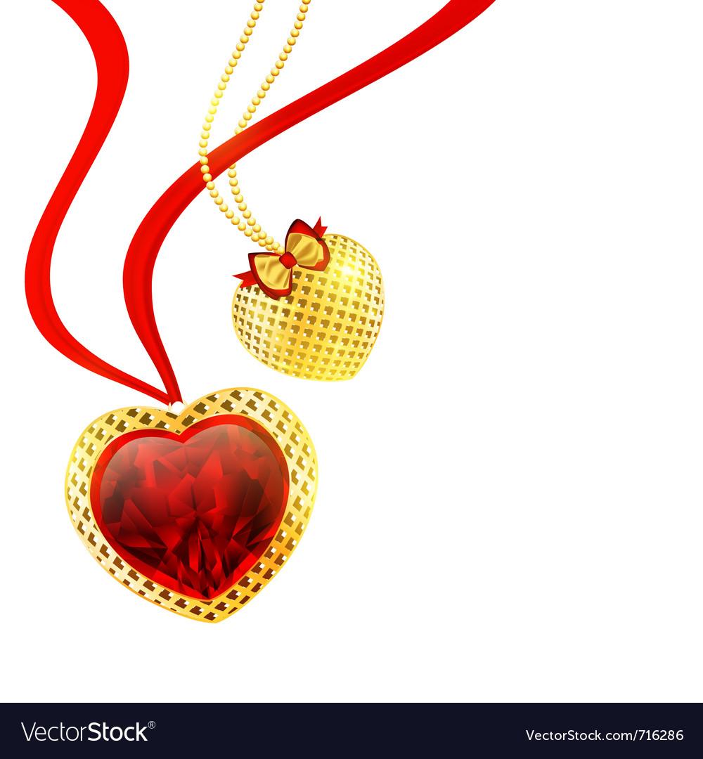 Valentines day golden hearts vector