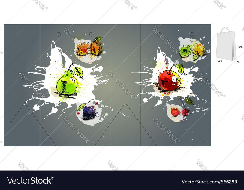 Fruit bag packaging vector