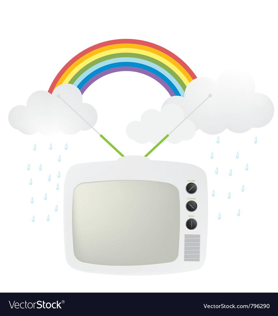 Retro tv and rainbow vector