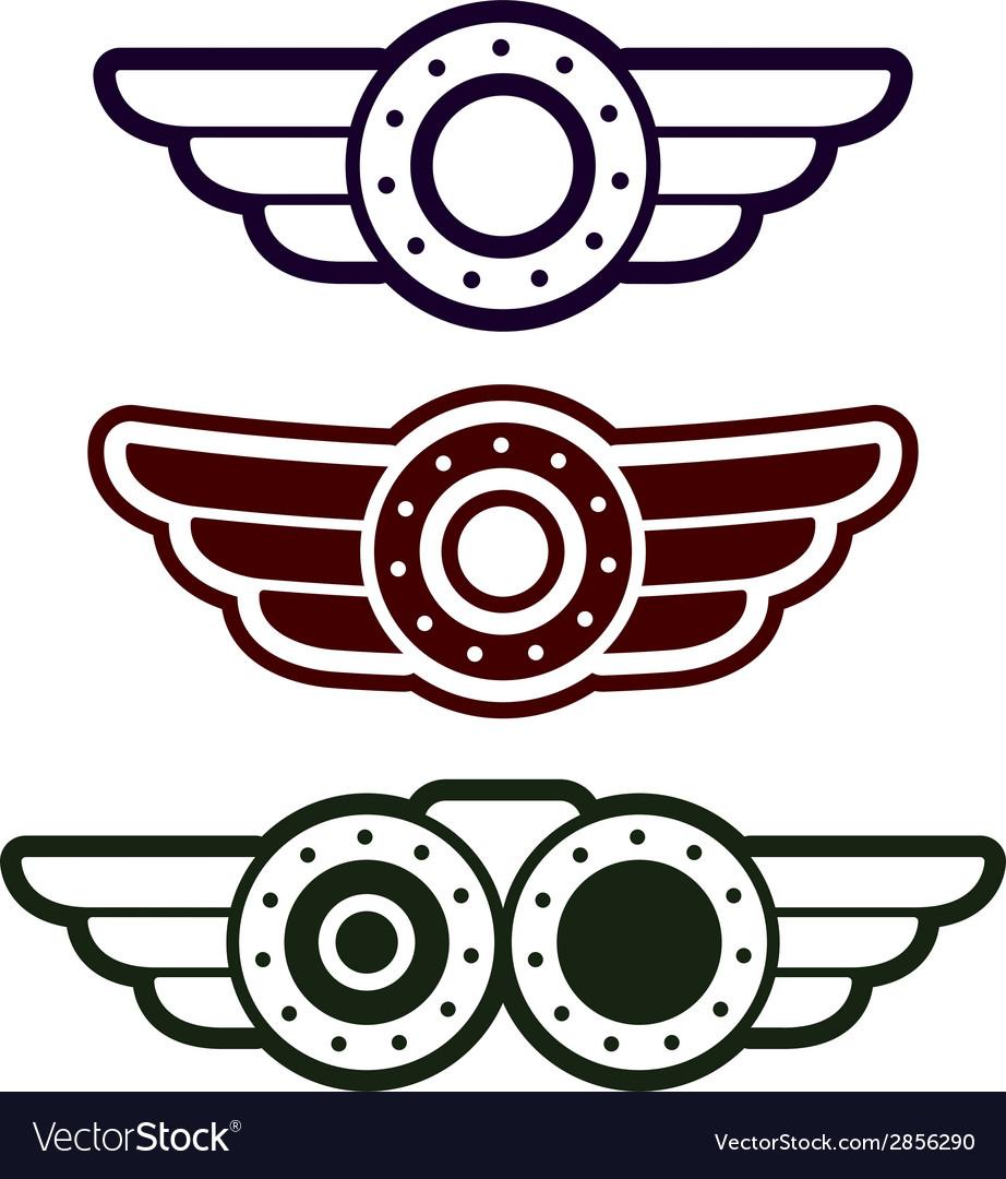 Steam punk emblem set vector