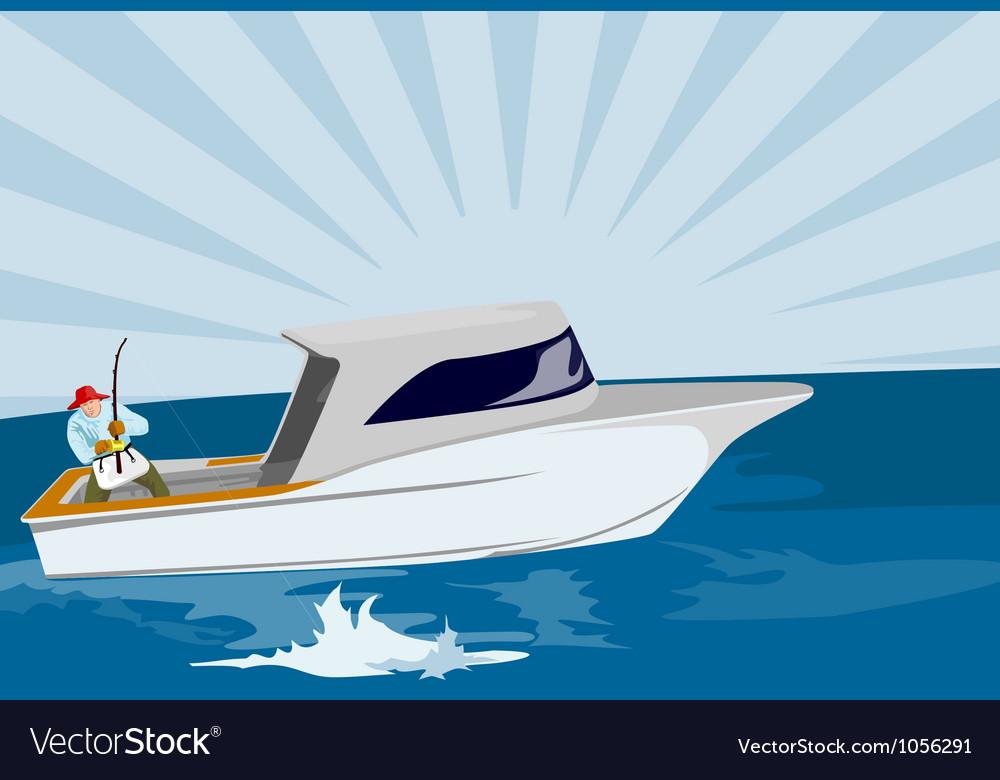 Fisherman fishing rod and reel retro vector