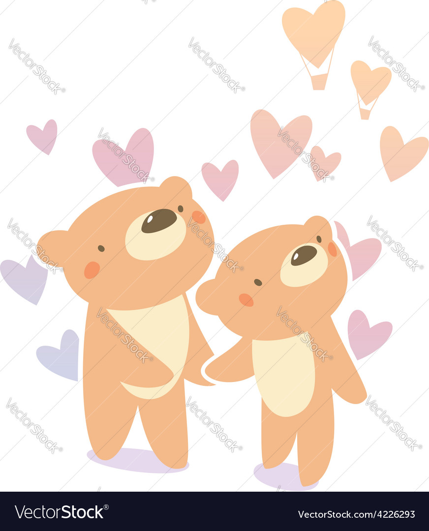 Bears in love vector