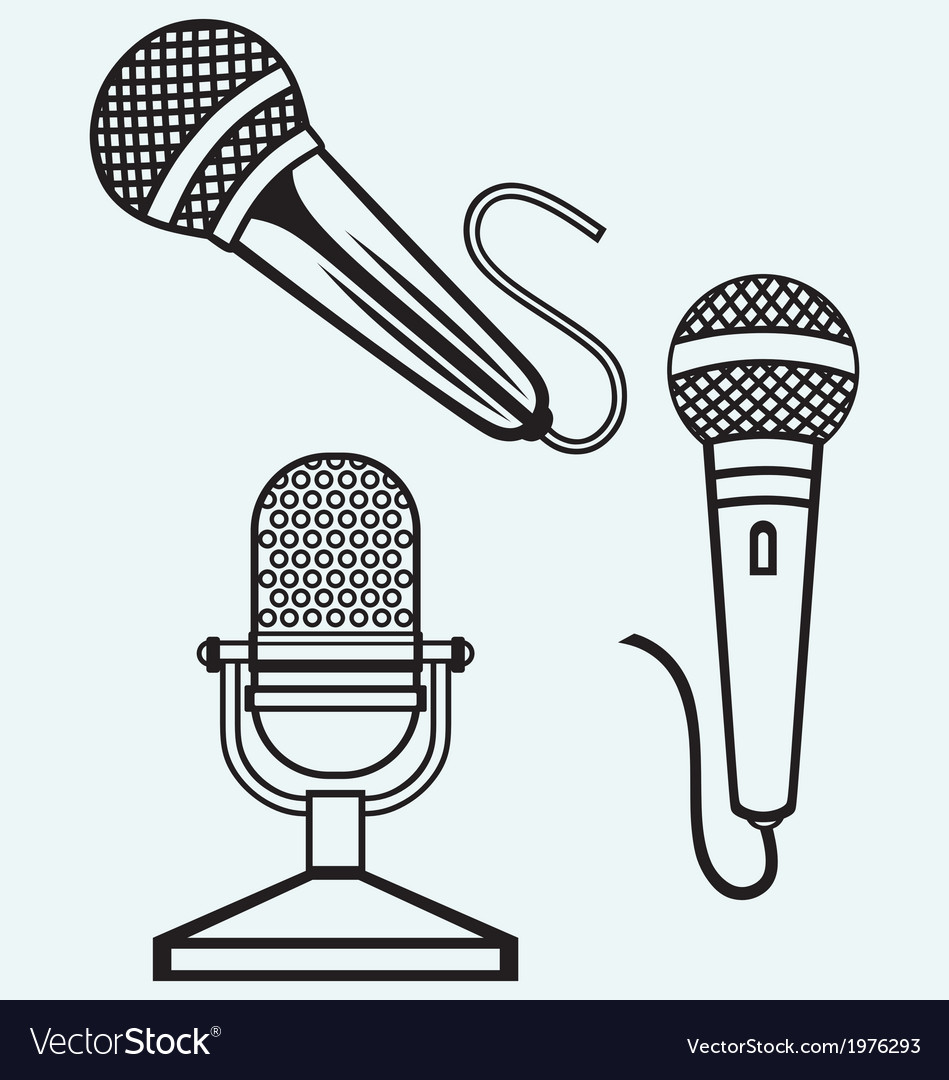 Microphone icons set vector