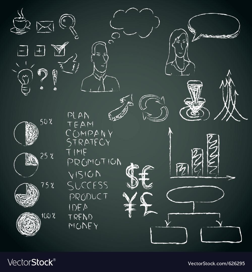 Business doodles vector