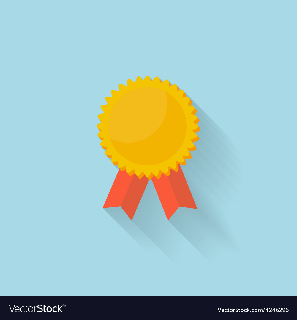 Flat gold medal icon vector