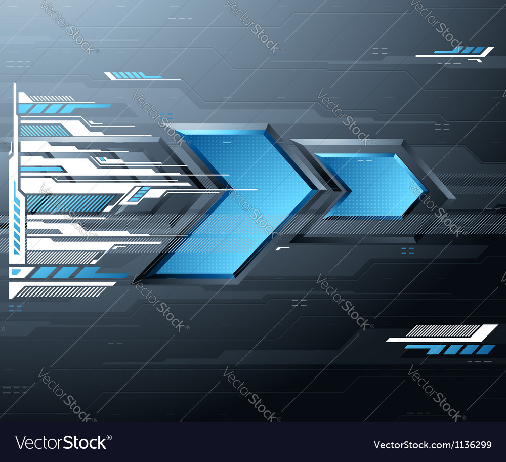 Abstract futuristic background with blue arrows vector