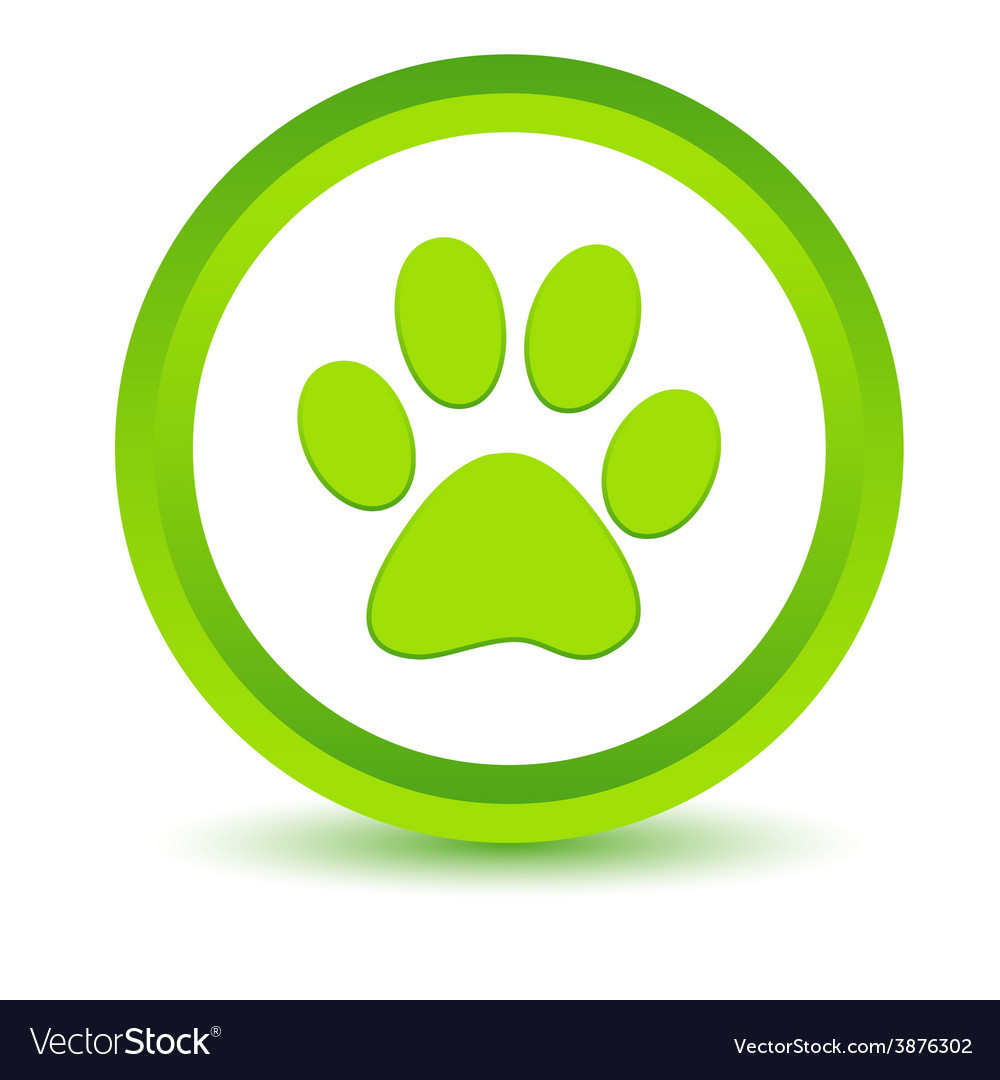 Green paw icon vector
