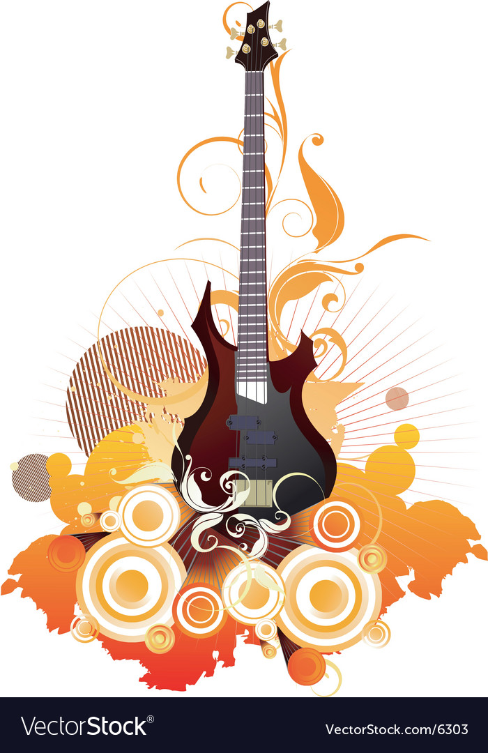 Urban guitar graphic vector
