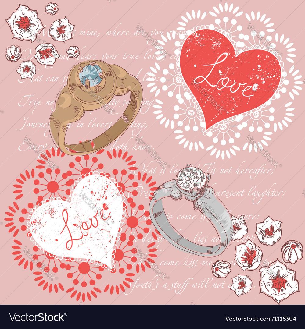 Valentine romantic retro greeting postcard vector