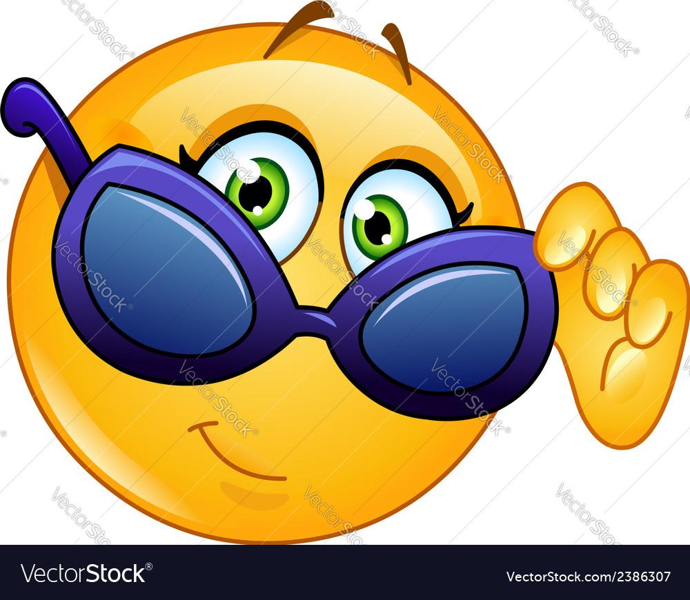 Looking over sunglasses emoticon vector