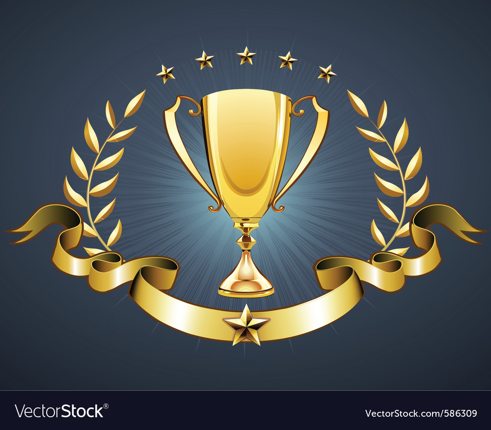 Golden trophy vector