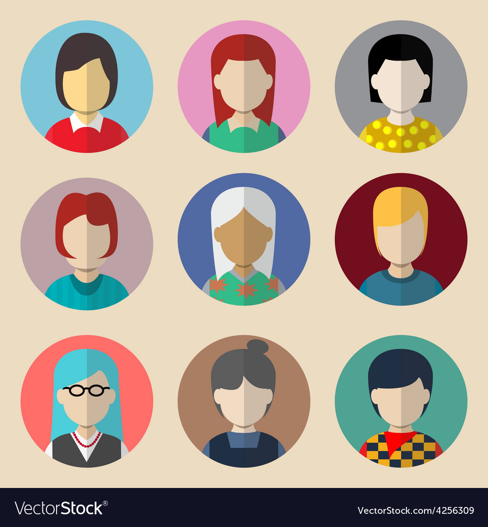 Set of avatars woman vector